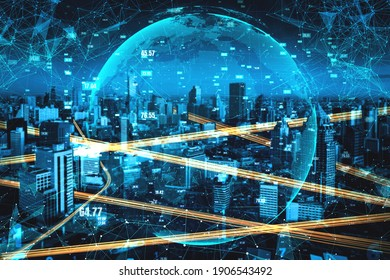 Smart city technology with futuristic graphic of digital data transfer . Concept of computer internet communication and information network technology .
