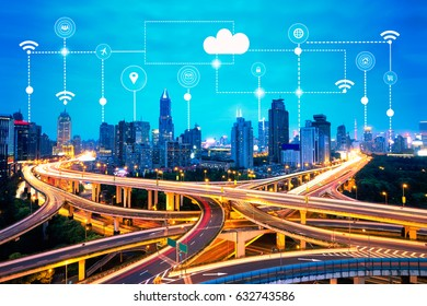 Smart city and technology icons, internet of things, with smart services networks background concept