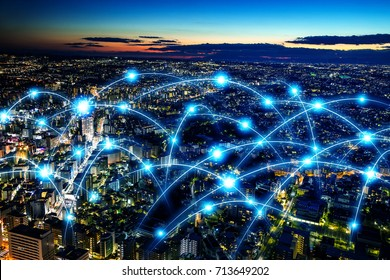 Smart city and telecommunication network concept. abstract mixed media.