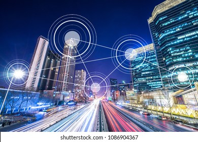 smart city in urban with busy traffic