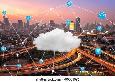 Smart city with wifi connection and cloud computing technology for global business connection. Photo design for smart city and internet of things concept.