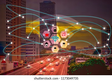 Smart City and Wireless Communication Concepts IOT (Internet Of Thing),convenience lifestyle,Concept of future modern world with boundless communication,And control everything,With modern technology