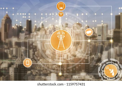 Smart city and wireless communication network concept.