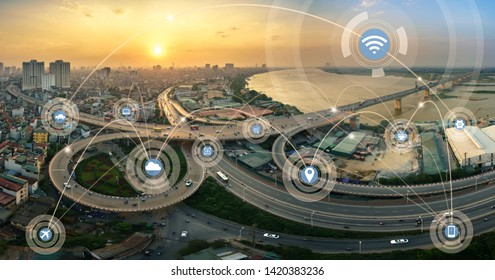 Smart city and wireless communication network concept. Digital network connection lines of Hanoi city at Vinh Tuy bridge