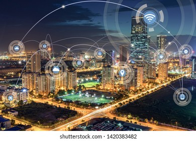 Smart city and wireless communication network concept. Digital network connection lines of Hanoi city