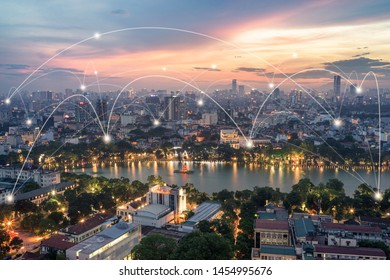 Smart city and wireless communication network concept. Digital network connection lines of Hanoi city at Hoan Kiem lake or Ho Guom