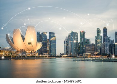 Smart city and wireless communication network concept. Digital network connection lines of Singapore at Marina Bay