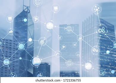 Smart City and Wireless Communication Network. Business District with office building. IOT modern technology concept.