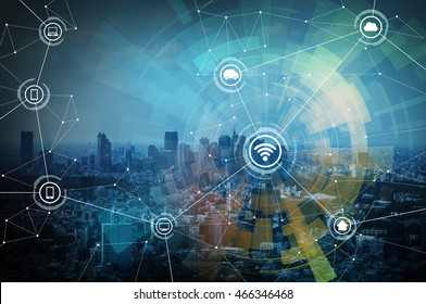 smart city and wireless communication network, IoT(Internet of Things),CPS(Cyber-Physical Systems), ICT(Information Communication Technology), abstract image visual