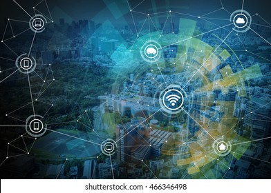 smart city and wireless communication network, IoT(internet of things), CPS(Cyber-Physical Systems), ICT(Information Communication Technology), abstract image visual