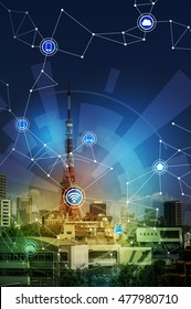 smart city and wireless communication network, Internet of Things, abstract image visual
