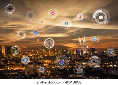 smart city and wireless communication network, abstract image visual, internet of things in Kuala Lumpur, Malaysia