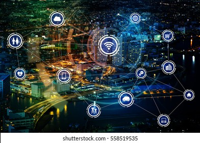 smart city and wireless communication network, IoT(Internet of Things), ICT(Information Communication Technology), digital transformation, abstract image visual