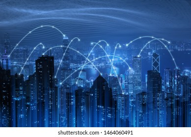 Smart city, wireless network connection, IoT Internet of Things, cloud storage technology concept, business buildings in city with network connection and blue abstract digital technology background