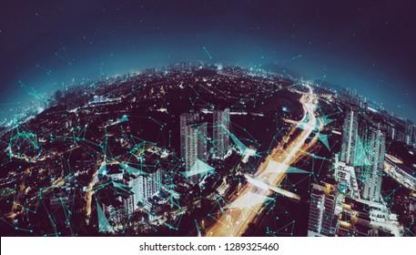 Smart cityscape with wireless network . Futuristic communication technology concept .