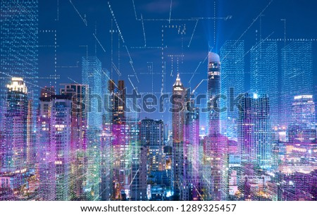 Smart cityscape with wireless network . Futuristic communication technology concept .