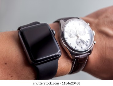 smart and classic wathes on wrist