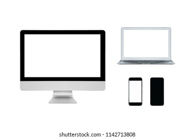 Smart computer laptop and smartphone with blank white screen isolated on white background.