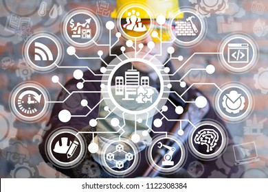 Smart Construction Industry. Modern Building. Industrial Build Architecture concept. Engineer clicks a skyscrappers with puzzle button surrounded by specific icons.