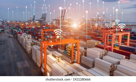 Smart crane loading cargo with smart line and smart wifi in the international terminal logistic depot sea port  concept freight shipping transportation and service concept. - Shutterstock ID 1921280666