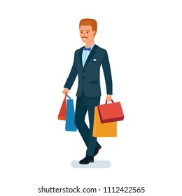 Smart creative man cartoon character. Man in beautiful business suit, businessman, comes from store with lot of bags, after shopping, buying in shop, shopping center. illustration.
