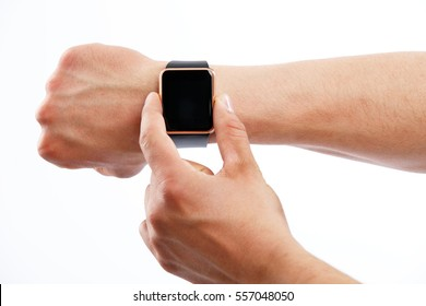 Smart device. Closeup shot of man using digital smart wrist watch on  white isolated background, copy space, blank screen
