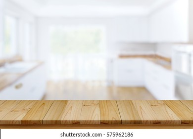 Smart Display Concept. Empty wood table in modern kitchen room. for product montage  display.