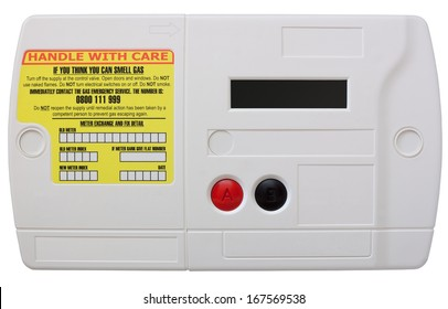 Smart domestic gas meter isolated on white with clipping path