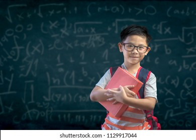 Smart educated school kid student with holding a book on backboard background. education and school concept - little student boy studying and  books at school