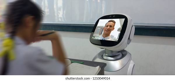 smart education industry futuristic concept, robotic assistant with artificial intelligence program in future use for teaching student with math, sing, dance, paint, and help them with language