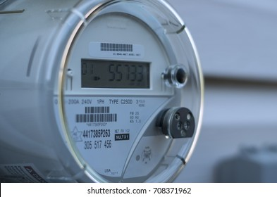 A smart electric power meter measuring power usage.
