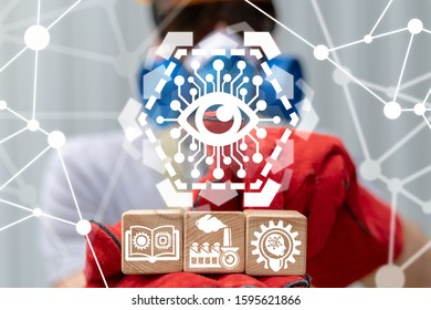 Smart Eye Big Brother AI Industry Concept. Artificial Intelligence Automation Control Management Industrial Technology.