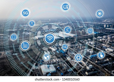 Smart factory concept. Internet of Things. Factory Automation. Sensor network