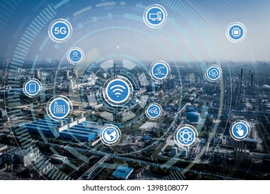 Smart factory concept. Internet of Things. Factory Automation.
