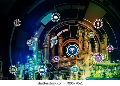 Smart factory concept. Internet of Things. Factory Automation. Sensor network.