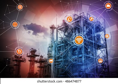 smart factory conceptual abstract, Internet of Things, Industry4.0