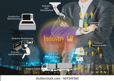 Smart factory or Industry 4.0 benefit concept. Industrial 4.0 process icons on Double exposure of Business man standing and industrial factory, infrastructure.