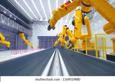 smart factory, modern automated production plant with robot arms - smart industry 4.0 future concept