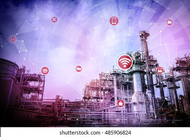 smart factory and wireless communication network, Internet of Things, abstract image visual