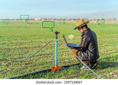 Smart farming agriculture concept. Man hands holding computer on blurred organic farm as background.  smart irrigation technology. american farmer