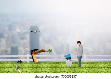 smart farming concept, Agronomist or Farmer work in the urban or vertical farm with robot (artificial intelligence) and check,management, monitor keep data analysis in each day in the agriculture farm