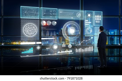 Smart financial analytics working at modern office with big data ,connections icon, internet of things, financial charts and graph virtual screen.