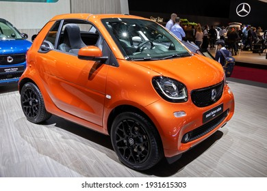 Smart Fortwo Cabrio Prime car at the Paris Motor Show in Expo Porte de Versailles. France - October 3, 2018