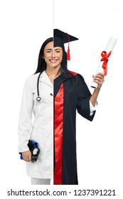 Smart girl in two occupations of doctor and graduate isolated on white background. One side student graduate in mantle and holding diploma, doctor in white coat with pressure gauge and stethoscope.