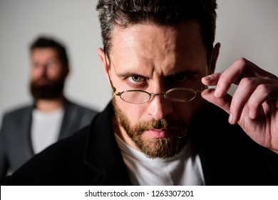 Smart glance. Accessory for smart appearance. Now i see everything. Attentive glance. Picky smart inspector. Man handsome bearded guy wear eyeglasses. Eye health and sight. Optics and vision concept.
