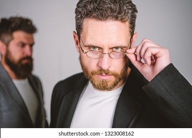 Smart glance. Accessory for smart appearance. Wearing glasses may really mean you are smarter. Man handsome bearded mature guy wear eyeglasses. Eye health and sight. Optics and vision concept.