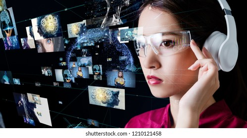 Smart glasses concept. Head up display. Head mounted dispaly.