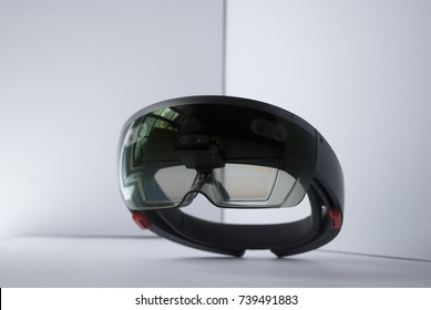 smart glasses. holographic computer mask. virtual reality device