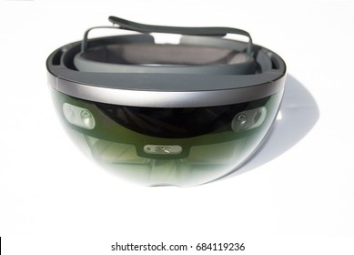 smart glasses on white background. front view