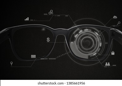 Smart glasses, VR virtual reality, and AR augmented reality technology. Smart glasses with futuristic technology graphics